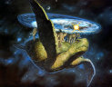 Discworld on the backs of 4 elephants and the great A'tuin