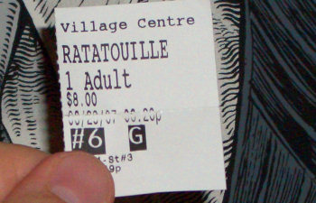 My Ratatouille movie ticket